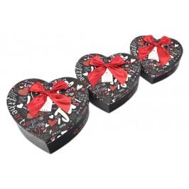 Комплект от 3бр. картонени кутии във формата на сърце - надписи