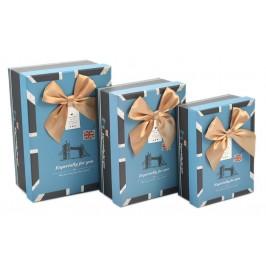 Комплект от 3 броя картонени кутии с декоративна панделка