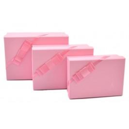 Комплект от 3бр. картонени кутии с декоративна панделка