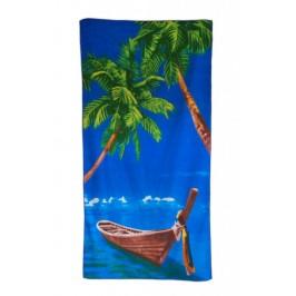 Плажна хавлия - палми и лодка в морето