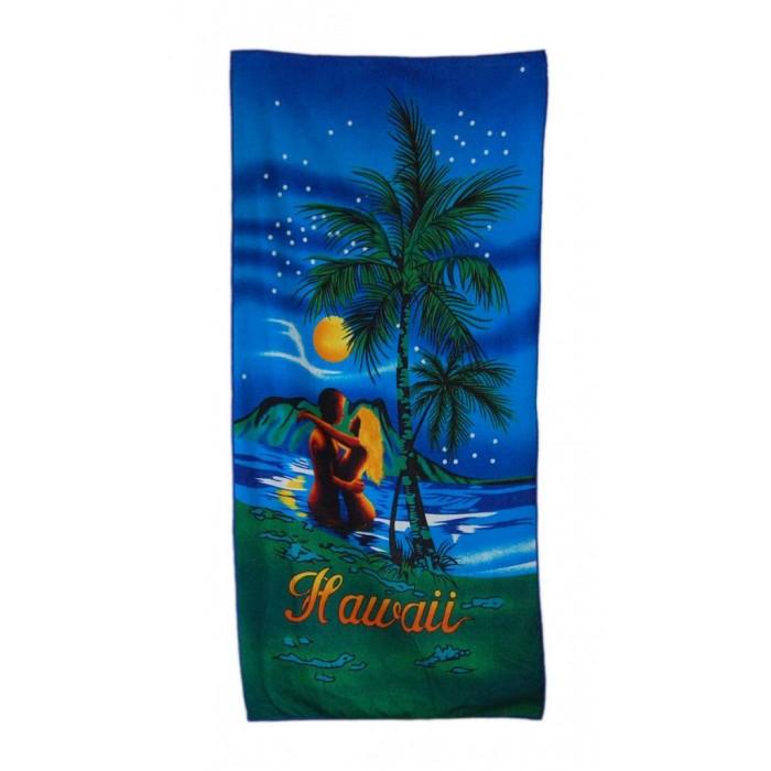 Плажна хавлия - палми и влюбена двойка в морето с надпис Хавай
