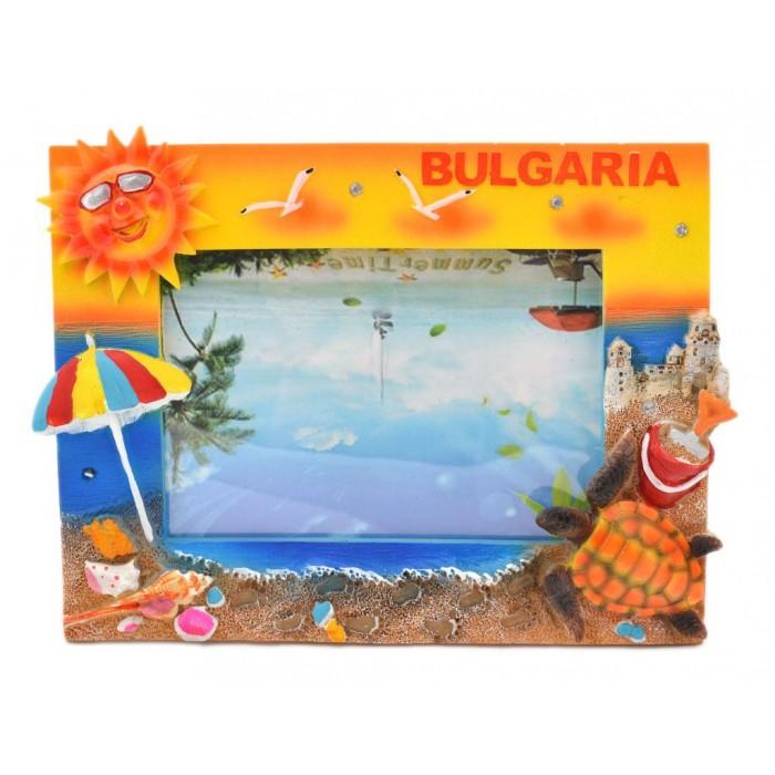 Сувенирна рамка за снимки - плаж с чадър, костенурка и слънце