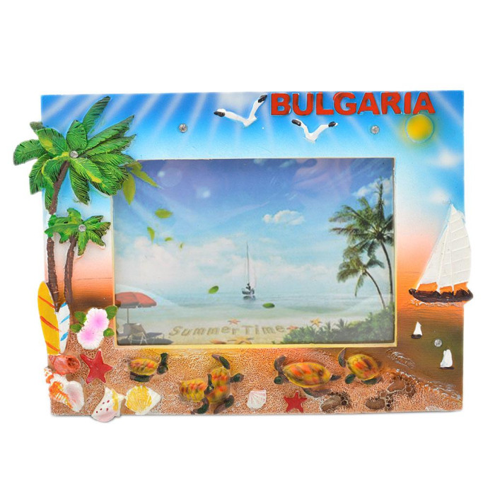 Сувенирна рамка за снимки - плаж, платноходка, чадъри и костенурки