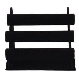Тройна поставка за гривни - черно кадифе