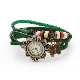 Кожена гривна - часовник, декорирана с шайби и фигурка