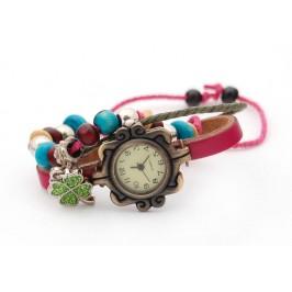 Кожена гривна - часовник, декорирана с фигурка