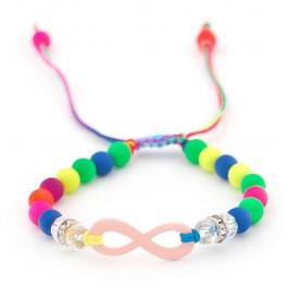 Плетена гривна с цветни топчета, прозрачна мъниста, пръстени и символ на безкрайността