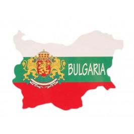 Сувенирна магнитна пластинка - българския трикольор с герб - контури на България