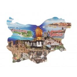 Сувенирна магнитна пластинка - забележителности в Несебър - контури на България
