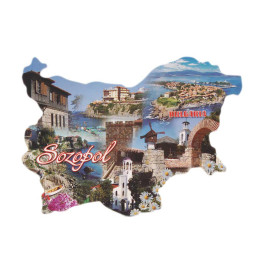 Сувенирна магнитна пластинка - забележителности в Созопол - контури на България