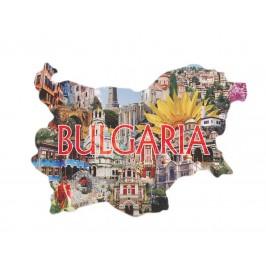 Сувенирна магнитна пластинка - забележителности в България - контури на България