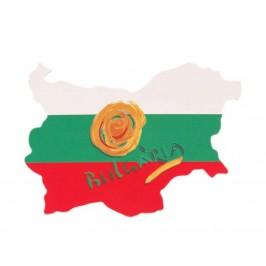 Сувенирна магнитна пластинка - българския трикольор с роза - контури на България