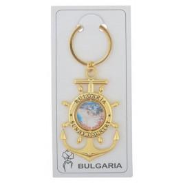 Сувенирен метален ключодържател - котва с въртяща се плочка, декорирана с изглед от Златни пясъци и логото на България