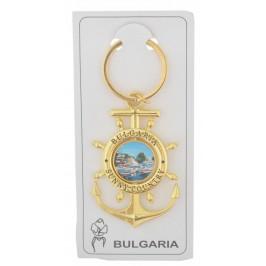 Сувенирен метален ключодържател - котва с въртяща се плочка, декорирана с Капитанска среща в Несебър и логото на България