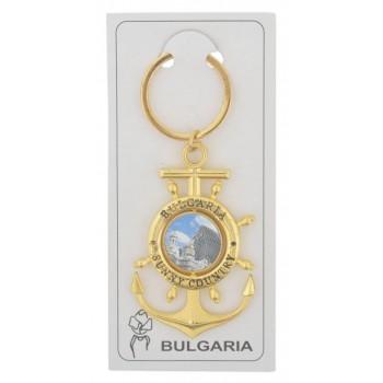 Сувенирен метален ключодържател - котва с въртяща се плочка, декорирана с Варненската катедрала и Вятърната мелница в Несебър и логото на България