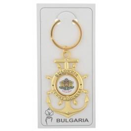 Сувенирен метален ключодържател - котва с въртяща се плочка, декорирана с герба на Република България и логото на България