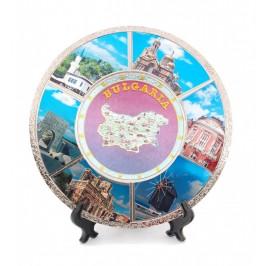Сувенирна метална чинийка с лазерна графика - картата на България, забележителности във Варна, Несебър Балчик, Калиакра