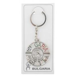 Сувенирен метален ключодържател във формата на кръг, декориран с морски мотиви и надпис - България