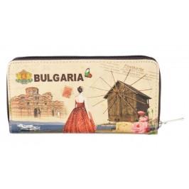 Сувенирно портмоне от изкуствена кожа с изобразени: старата църква и мелница в Несебър с надпис България