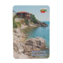 Сувенирна магнитна пластинка - бряг с къщи, Созопол