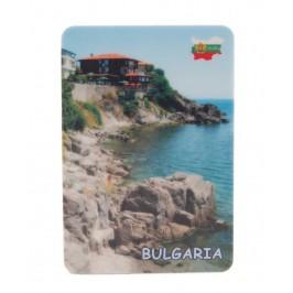 Сувенирна магнитна пластинка - бряг с къщи, България