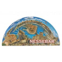 Сувенирна релефна магнитна пластинка във формата на полусфера - забележителности в Несебър