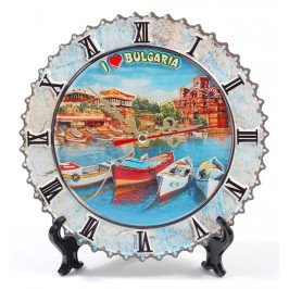 Настолен часовник, тип сувенирна чинийка върху поставка - капитанска среща и църквата в Несебър