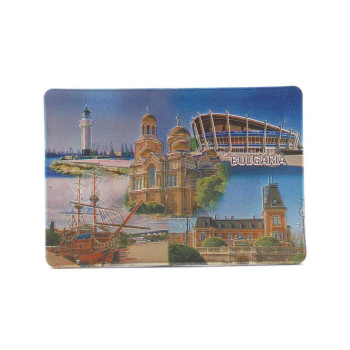 Сувенирна магнитна пластинка с лазерна графика - забележителности във Варна