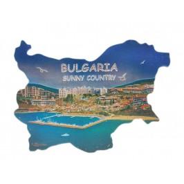 Сувенирна магнитна пластинка с лазерна графика - плажове и хотели - контури на България