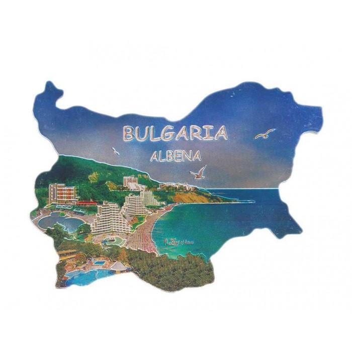 Сувенирна магнитна пластинка с лазерна графика - плажове и хотели, Албена - контури на България