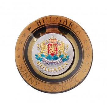 Магнитна сувенирна чинийка с лазерна графика - герба на България