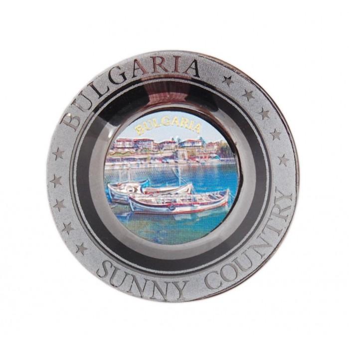 Магнитна сувенирна чинийка с лазерна графика - лодки, България