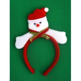 Коледна диадема с декоративна фигурка - снежен човек с шал