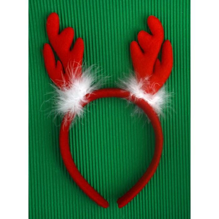 Коледна диадема - еленови рога с пух