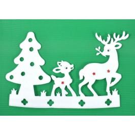 Коледна декорация с цветни снежинки - елха с елен и малкото му