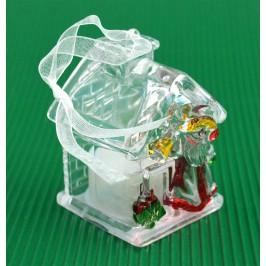 Декоративна фигурка - къщичка с Дядо Коледа, светеща в различни цветове