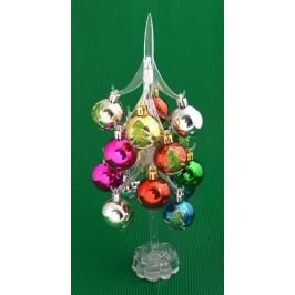 Декоративна елхичка с 16 цветни топки, светеща в различни цветове