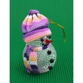 Декоративна фигурка - снежен човек с шал и шапка, светещ в различни цветове