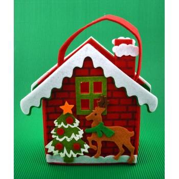 Коледна торбичка във формата на къщичка с елен и елха