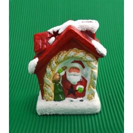 Светеща коледна фигурка - къщичка с Дядо Коледа