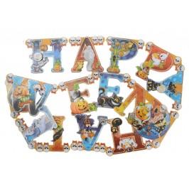 Парти гирлянд за декорация, състоящ се от свързани тематични фигурки за Хелоуин - надпис Happy Halloween