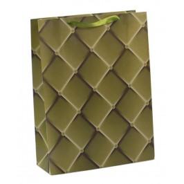 Цветна подаръчна торбичка - квадратчета, изработена от картон