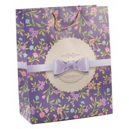 Цветна подаръчна торбичка - цветя и панделка