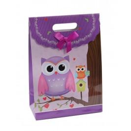 Цветна подаръчна торбичка с капаче с панделка - бухали