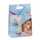 Цветна подаръчна торбичка с капаче с панделка - бебе