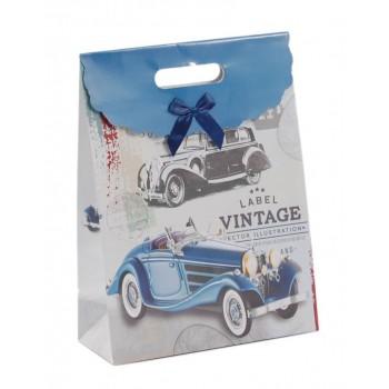 Подаръчна торбичка с капаче с панделка - ретро коли