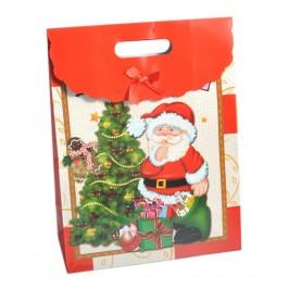 Коледна торбичка с капаче, декорирано с панделка