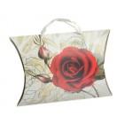 Сгъваема подаръчна торбичка във формата на възглавница с изобразена роза