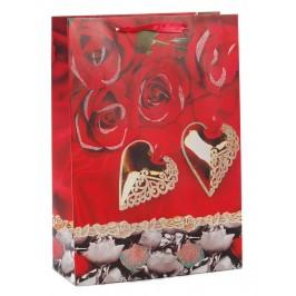 Подаръчна торбичка с брокат - рози