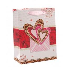 Подаръчна торбичка с брокат - сърца